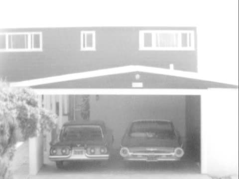 21Jul1963 B/W MONTAGE Beachfront home of Spencer Tracy in Malibu / Two Ford Thunderbird automobiles parked in car port MS St Vincent's Hospital...