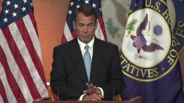 231jan 2009 ms republican john boehner giving speech at press conference / washington d - 2009 stock videos & royalty-free footage