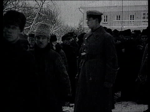 23Jan1924 B/W MONTAGE Lenin's funeral in Gorki Leninskiye Stalin carrying Lenin's body with other out of building procession crowd following coffin /...