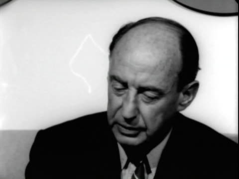 jun-1965 b/w montage united states ambassador to the united nations adlai stevenson walking along corridor with aides at san francisco international... - one senior man only stock videos & royalty-free footage