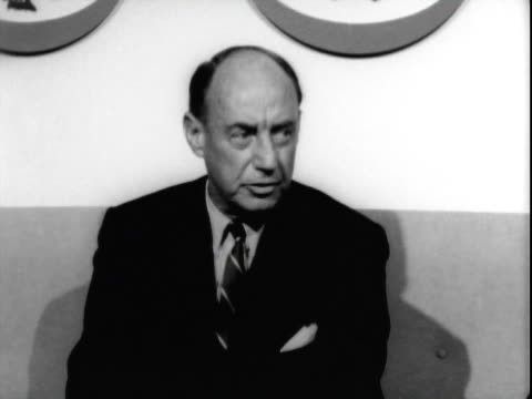 jun-1965 b/w united states ambassador to the united nations adlai stevenson conducting press conference in american airlines terminal at san... - one senior man only stock videos & royalty-free footage