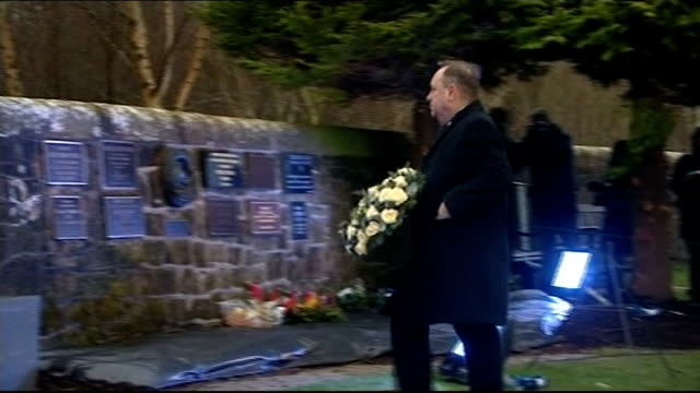 25th anniversary of lockerbie bombing marked scotland dumfries and galloway lockerbie ext people gathered for memorial service as clergyman heard... - memorial plaque stock videos and b-roll footage