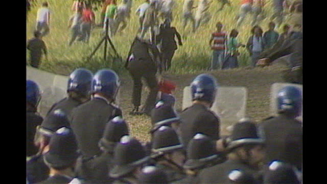 25th anniversary of miners' strike striker and policeman 1984 south yorkshire ext police clash with striking miners at orgreave colliery - south yorkshire stock videos and b-roll footage
