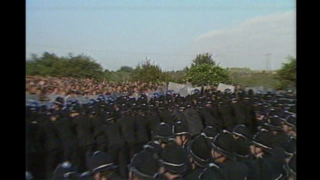 25th anniversary of miners' strike striker and policeman 1984 police clash with striking miners at orgreave colliery - south yorkshire stock videos and b-roll footage