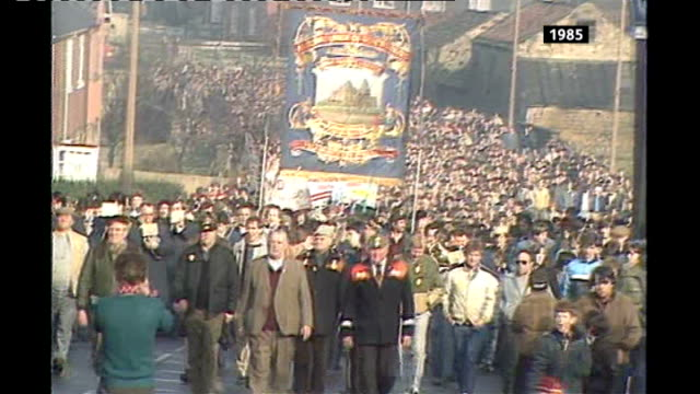 25th anniversary of the start of the 1984 miners' strike report from grimethorpe tx various of coal miners returning to work at end of year long... - 25th anniversary stock videos & royalty-free footage