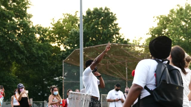 25th july 2020: batala. the 56th night of the george floyd vigil at mccarren park included live afro-brazilian percussive music by mambembe, an... - anna deavere smith video stock e b–roll