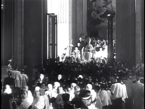 260th bishop of rome pope pius xii being carried in sedia gestatoria through crowd into building church bell pope pius xii on loggia making sign of... - catholicism stock videos and b-roll footage