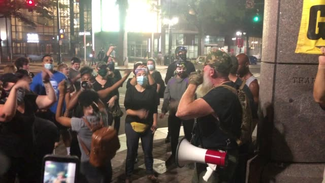 vídeos de stock e filmes b-roll de 26th 2020: charlotte-uprising activists continue their protests this week in response to the republican national convention on august 26, 2020 in... - cidadão