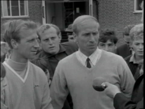 27jul1966 b/w ms bobby and jackie charlton interview hendon hall hotel / united kingdom / audio - jack charlton stock videos & royalty-free footage