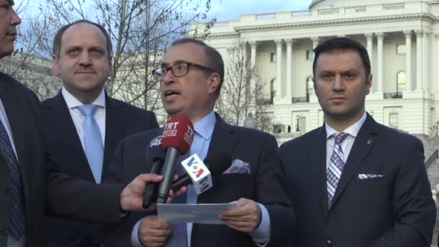 turkish community living in the united states voiced their reactions against the u.s. support to the pkk terrorist group's syrian affiliate pyd in a... - conference phone stock videos & royalty-free footage