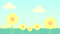 2d animation of  green grass ,flowers and  blue sky with clouds