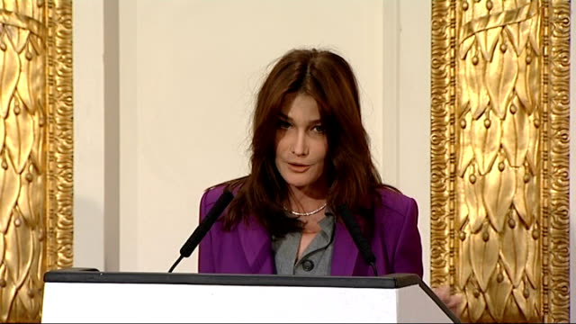 2nd day of state visit by nicolas sarkozy and his wife carla bruni: charity lunch; carla bruni sarkozy speech sot - thanks people for the invitation... - day 2 stock videos & royalty-free footage