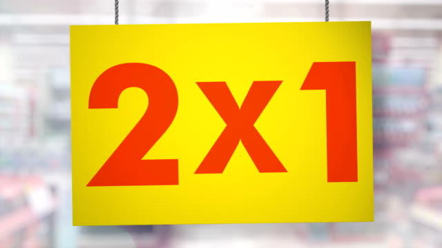 2x1 sign hanging from ropes. luma matte included so you can put your own background. - price tag stock videos & royalty-free footage
