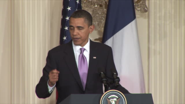 30mar2010 ms us president barack obama answers reporters questions on iran at press conference during sarkozy's visit / washington dc - 2010 stock videos & royalty-free footage