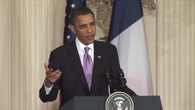 30mar2010 ms us president barack obama answers reporters questions on iran at press conference during sarkozy's visit / washington dc - obama stock videos & royalty-free footage