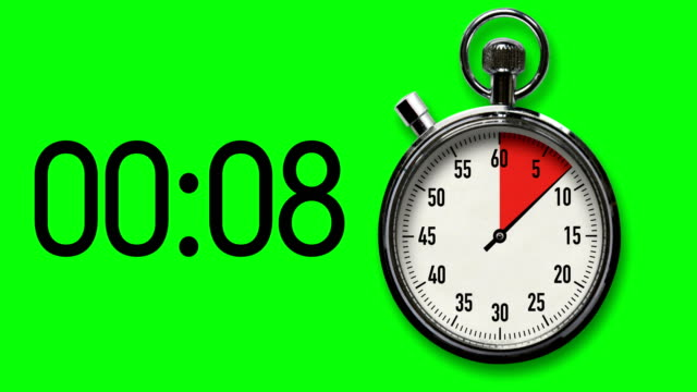 vídeos de stock e filmes b-roll de 30-second stopwatch countdown on chroma key background with digital readout - 30 seconds or greater