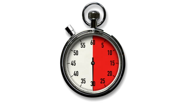 vídeos de stock e filmes b-roll de 30-second stopwatch countdown on white background - 30 seconds or greater