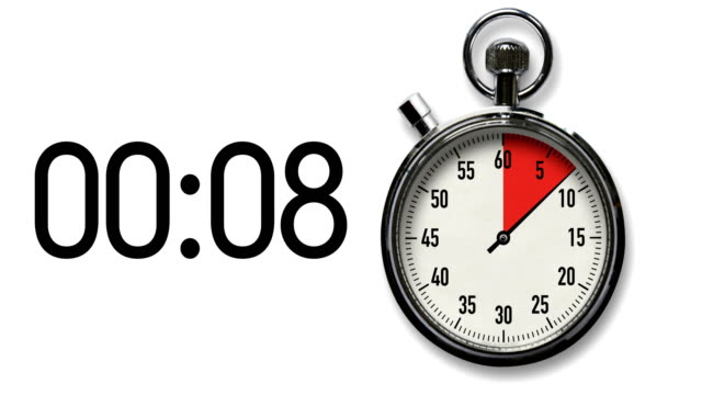 vídeos de stock e filmes b-roll de 30-second stopwatch countdown on white with digital readout - 30 seconds or greater
