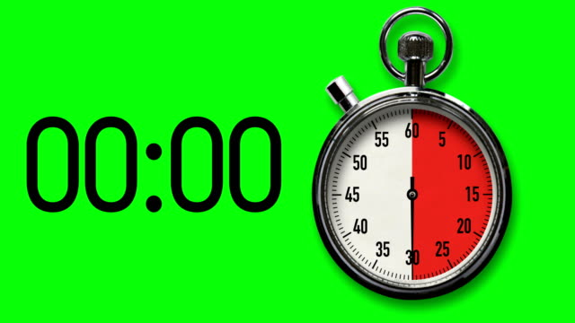 vídeos de stock e filmes b-roll de 30-second stopwatch countdown with chroma key background - 30 seconds or greater