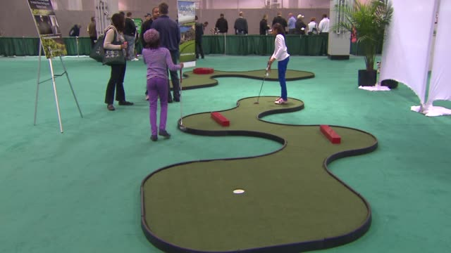 31st annual golf show on february 28, 2014 in rosemont, illinois. - putting green stock videos & royalty-free footage