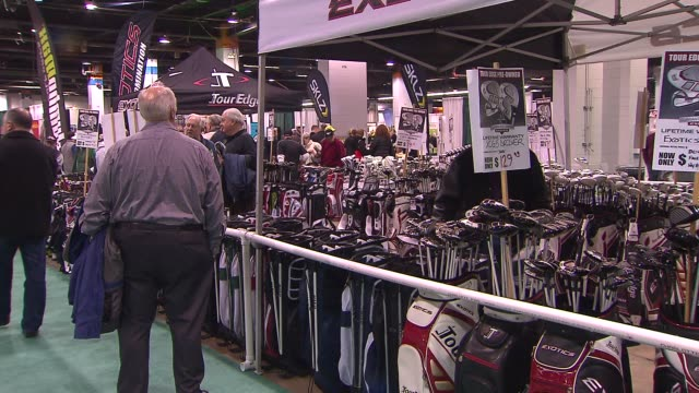 31st annual golf show on february 28, 2014 in rosemont, illinois. - golf club stock videos & royalty-free footage