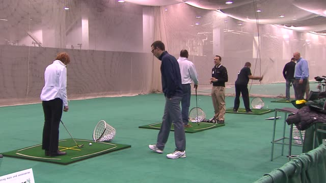 31st annual golf show on february 28 2014 in rosemont illinois - driving range stock videos & royalty-free footage