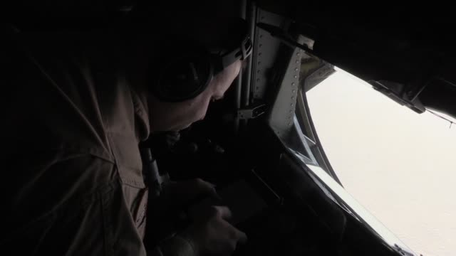 340th expeditionary air refueling squadron kc-135 stratotanker and its aircrew provide aerial refueling to a flight of french air force rafales and... - g force stock videos & royalty-free footage