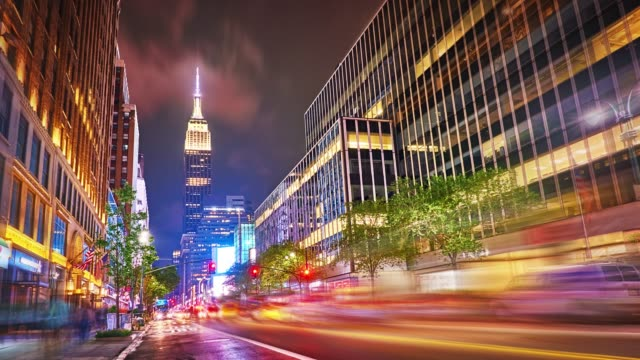 34th street and empire state building - twilight stock videos & royalty-free footage