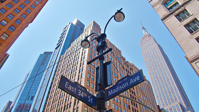 34th street. madison avenue. empire state building - empire state building stock videos & royalty-free footage