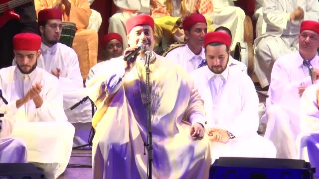 35th almadina music festival held at municipality theatre in tunis tunisia on june 06 2017 sufi music band hadhrat fadhel jaziri perform during the... - sufism stock videos & royalty-free footage