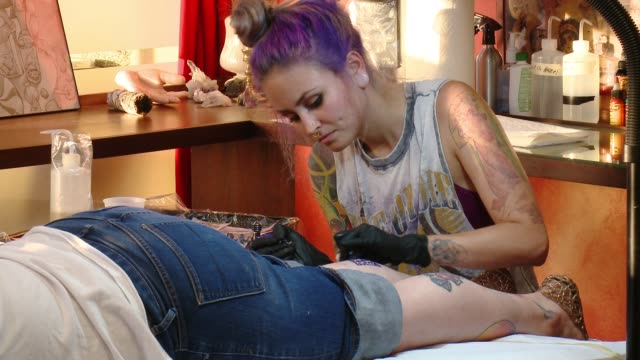 35th birthday tattoo event on august 01, 2016 in los angeles, california. - tattoo stock videos & royalty-free footage