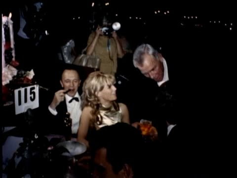 vídeos de stock e filmes b-roll de 38th annual academy awards governor's ball 1966 movie stars and personalities celebrate with dining and dancing - atriz