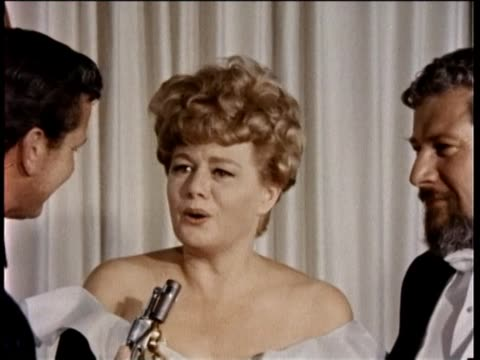 38th annual academy awards press room part-3 1966 interview with shelley winters and peter ustinov, also interview with verna lisi. - academy awards stock videos & royalty-free footage