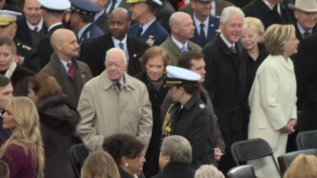 39th president of the united states and cancer survivor jimmy carter arrives with wife rosalynn for the inauguration of donald j trump shot from the... - jimmy carter präsident stock-videos und b-roll-filmmaterial