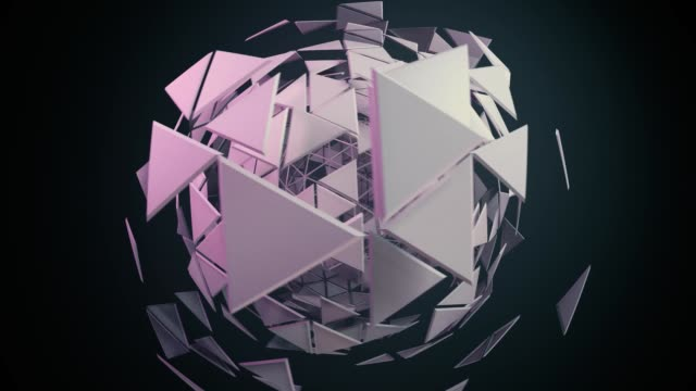 3d animation of abstract futuristic sculptures - triangle shape stock videos & royalty-free footage
