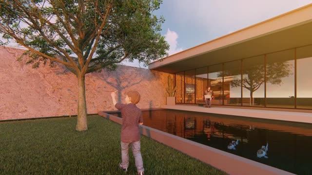 ラップトップコンピュータで働いて自宅に座っている父親の3dアニメーションと彼の息子が前庭で遊ぶのを見て、自宅covid-19からの概念的な仕事。 - 投影図点の映像素材/bロール