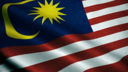 3d Animation of Malaysia flag. Realistic Malaysia Flag  waving in wind.