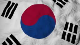 3d animation of South Korean flag waving