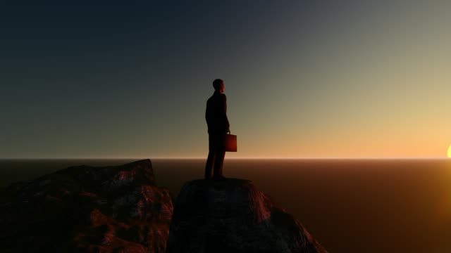 3d animation of successful business man on the top mountain sunset flare top beautiful epic mountain scenery nature exploration business success concept. - on top of stock videos & royalty-free footage