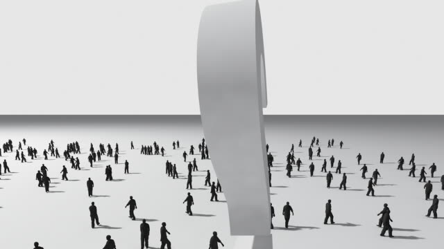 3d animation with crowd and question mark