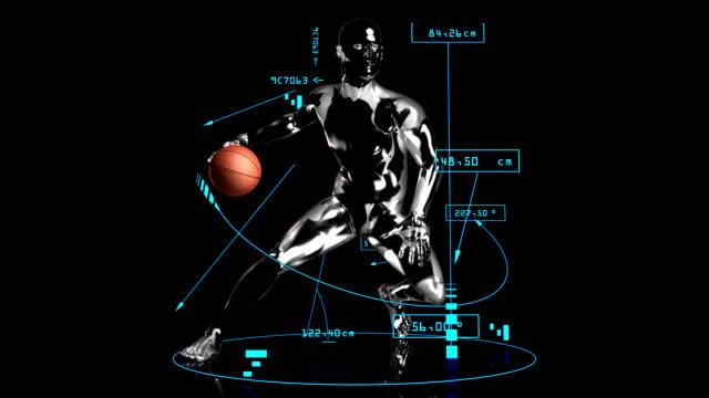 3 d のバスケットドリブル男性スマッシュ、技術データ - 籠点の映像素材/bロール