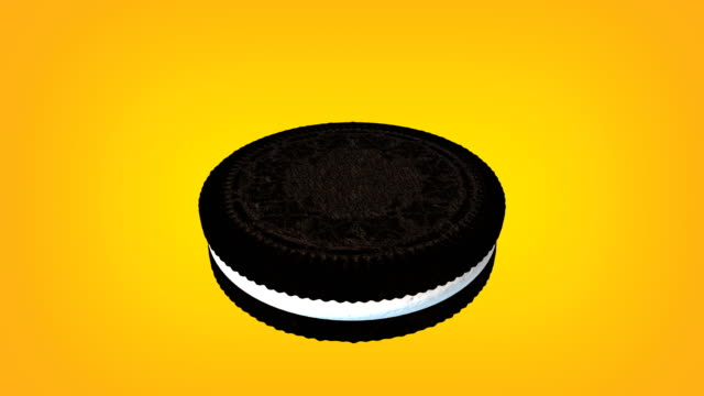 3d chocolate sandwich cookie with cream animation loop. luma matte is provided to extract the cookie. - luma matte stock videos & royalty-free footage