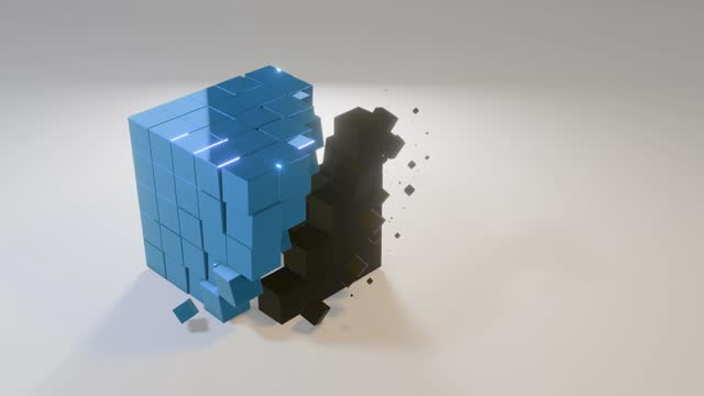 vídeos de stock, filmes e b-roll de mudanças azuis do cubo 3d - 1 minute or greater