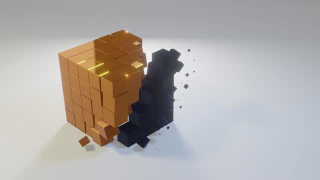 vídeos de stock, filmes e b-roll de mudanças no cubo 3d - cubo