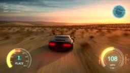 3d fake Video Game. Gameplay screen. Racing simulation on modern gaming computer.