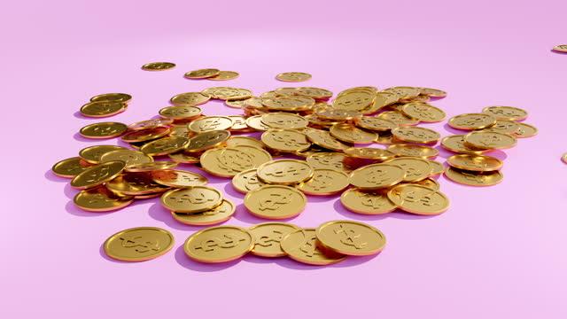 vídeos de stock, filmes e b-roll de 3d gold coins caindo no chão, 3d render. - partido político