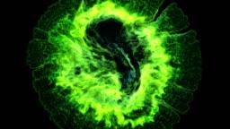 3d green fire explosion, shockwave effect