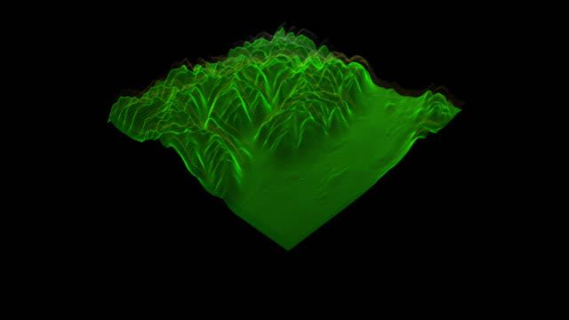 vidéos et rushes de vue 3d de la topographie du paysage comprennent le canal alpha - laser