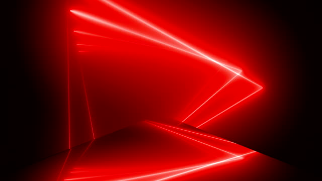 vídeos de stock e filmes b-roll de 3d render, abstract geometric background, fluorescent ultraviolet light, glowing neon lines rotating inside tunnel, blue red spectrum, shapes spinning around, - loopable 4k - luz led