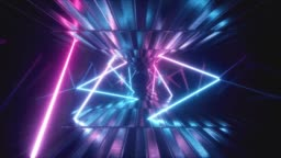 3d render, abstract metallic texture virtual reality tunnel. Futuristic motion graphic. Ultra violet neon light glow, fluorescent light. Flying forward corridor. Seamless loop 4k CG 3d animation